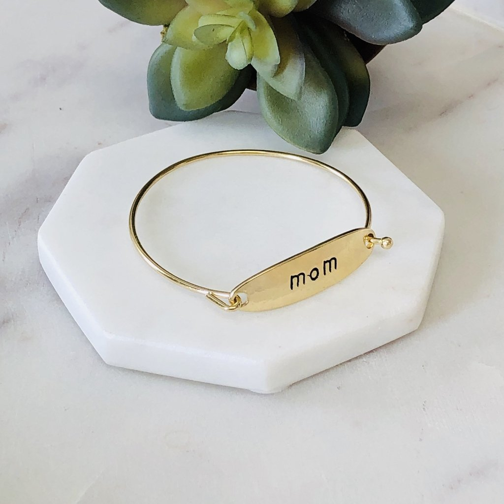 Mom Bangle Bracelet in gold and silver