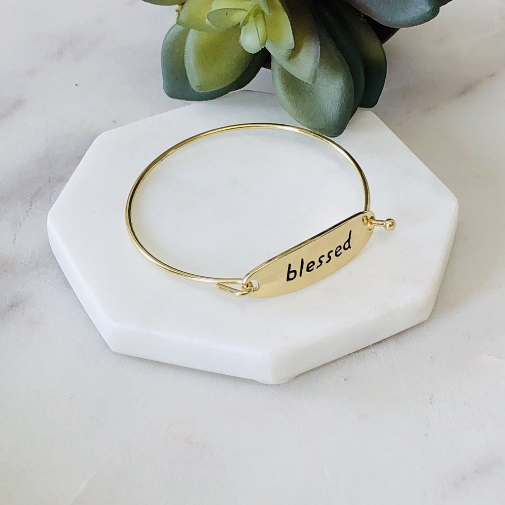 Blessed Bangle Bracelet in gold and silver