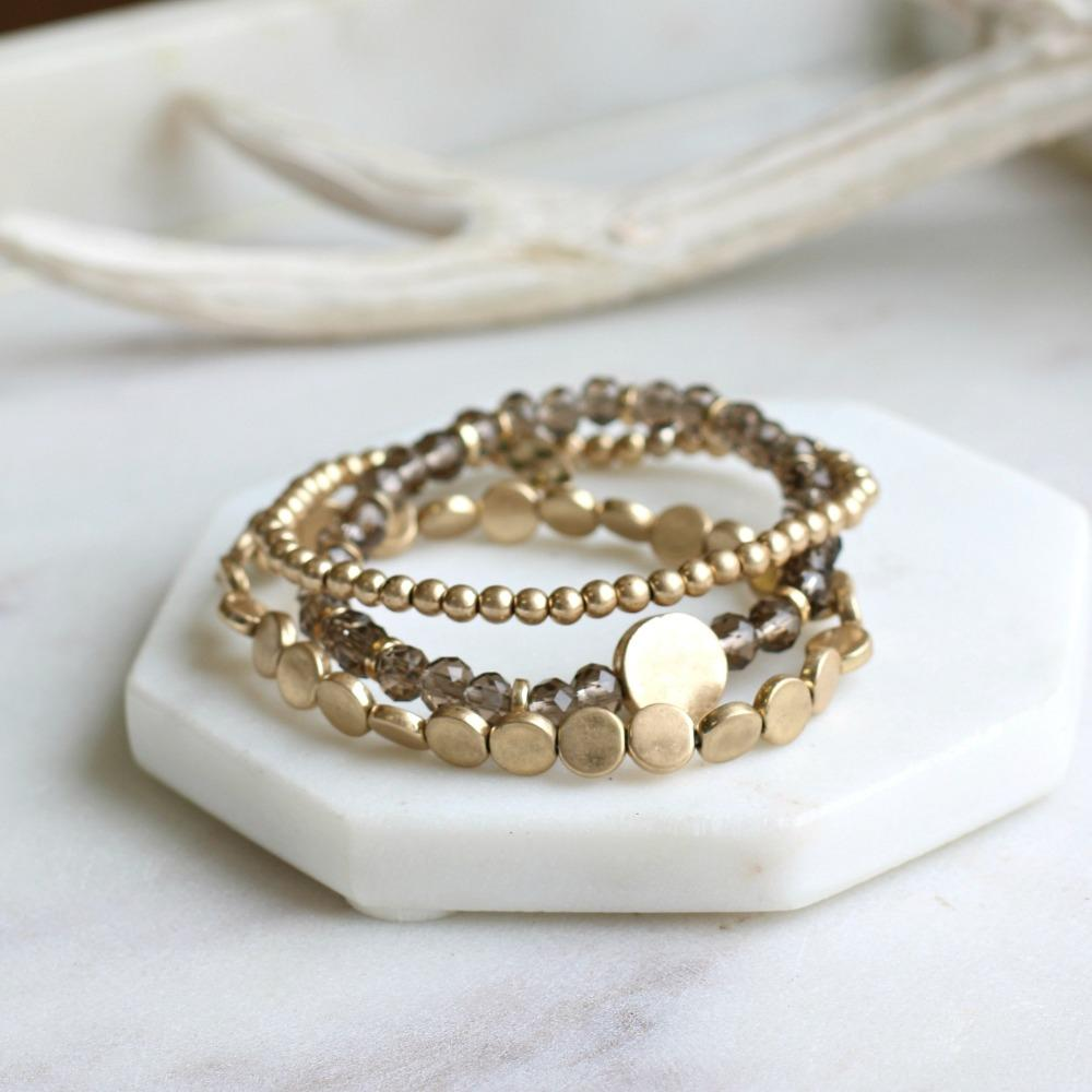 3 Piece Natural Toned Bead Stretch Bracelet Set