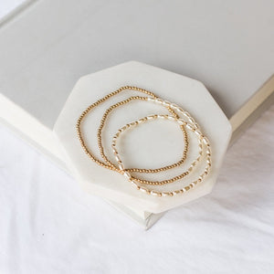Delicate Pearl Beaded Bracelet Set-Wholesale-Gold-Pretty-Simple