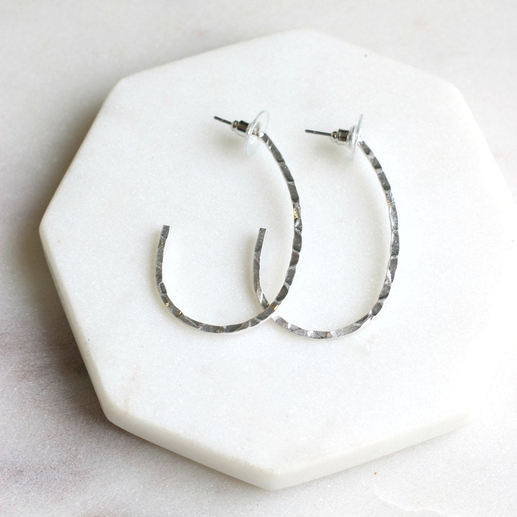 Hammered Texture Teardrop Hoop Earrings