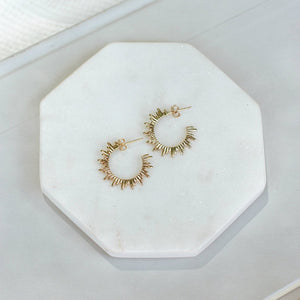 Sun Spike Hoop Earrings-Wholesale-Gold-Pretty-Simple