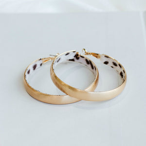 Gold Hoop Earrings with Hidden Animal Print Inside-Wholesale-Dalmatian-Pretty-Simple