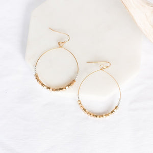 Eccentric Drop Hoops-Wholesale-Silver + Gold Beaded-Pretty-Simple