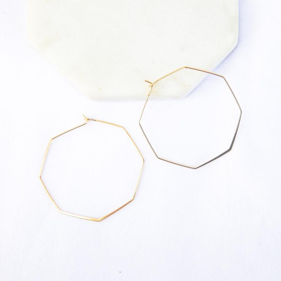 thin geometric octagon hoop earrings