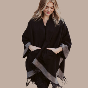 Stripe Knit Cape