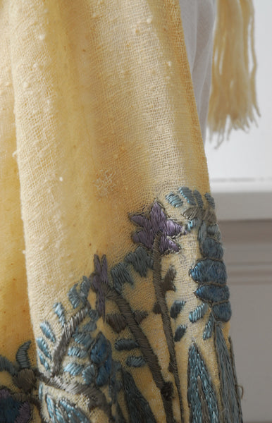 1910s Embroidered Hooded Shawl