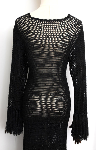 1920s Crochet Fringed Dress