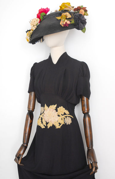 1930s Devoré Velvet Dress