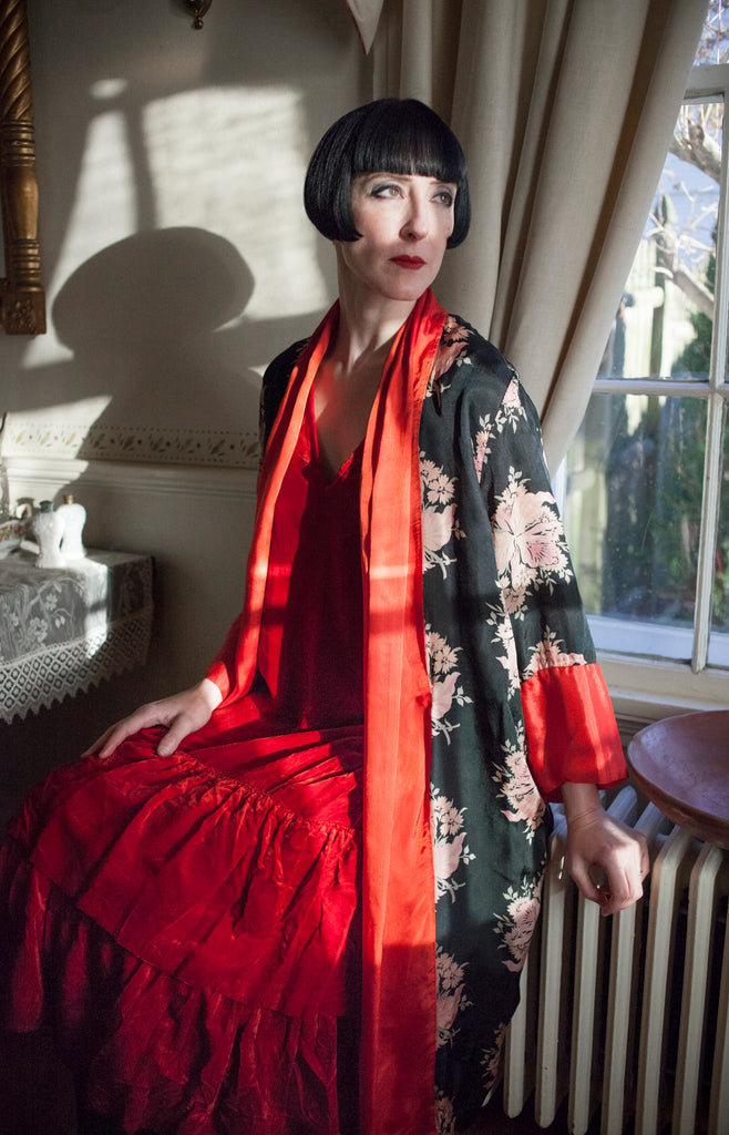 1920s Dark Florals Robe | As Is