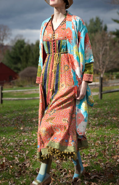 Olive Bauble Peasant Dress
