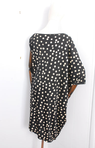 One-Sleeve Silk Polka Dot Dress