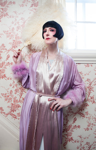 1930s Golden Lilac Silk Robe