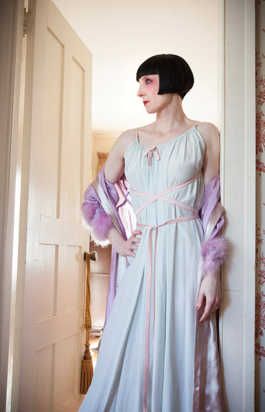 1930s Flowing Tie Silk Nightgown