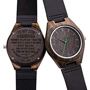 Engraved Watch for Men,Natural Custom Personalized Leather Strap Black Sandalwood Wood Groomsmen Watches