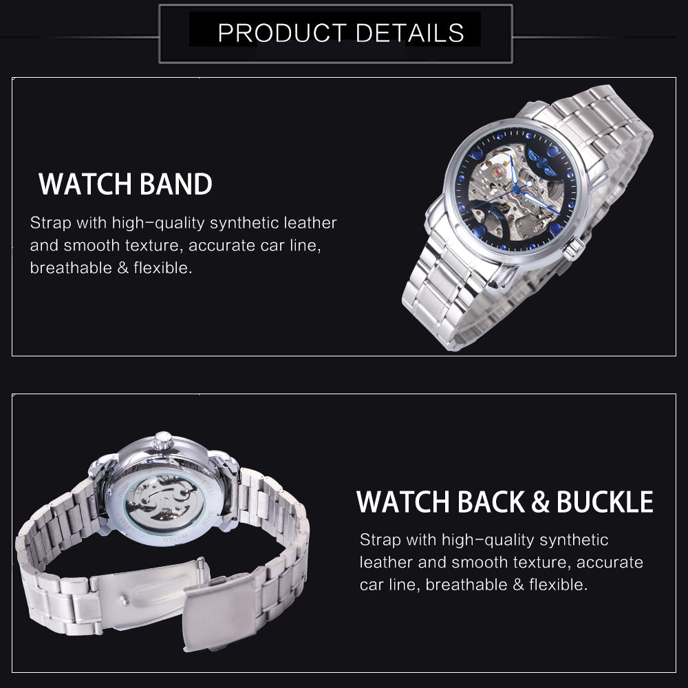 Top Winner Brand Luxury Automatic Watch Blue Ocean Fashion Casual Designer Stainless Steel Men Skeleton Watch Mens Watches