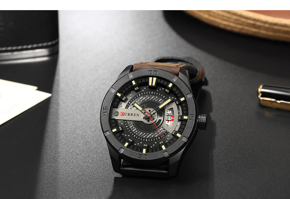 Men Quartz-Analog Watches Military Sport Black Wristwatch Leather Band