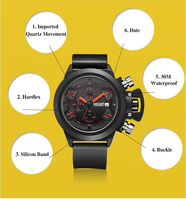 Carrie Hughes Men's 30M Waterproof Military Chronograph Luxury Quartz Sports Big Dial Silicone Watches