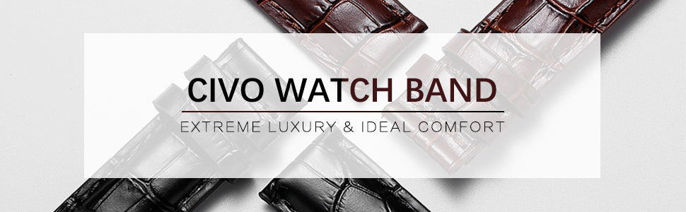 CIVO Genuine Leather Watch Bands Top Calf Grain Leather Watch Strap 20mm 22mm 24mm for Men and Women