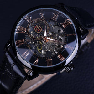 Forsining 3D Hollow Engraving Full Black Clock Luminous Design Black Stainless Steel Men's Mechanical Watches Top Brand Luxury-Watch Outfitters
