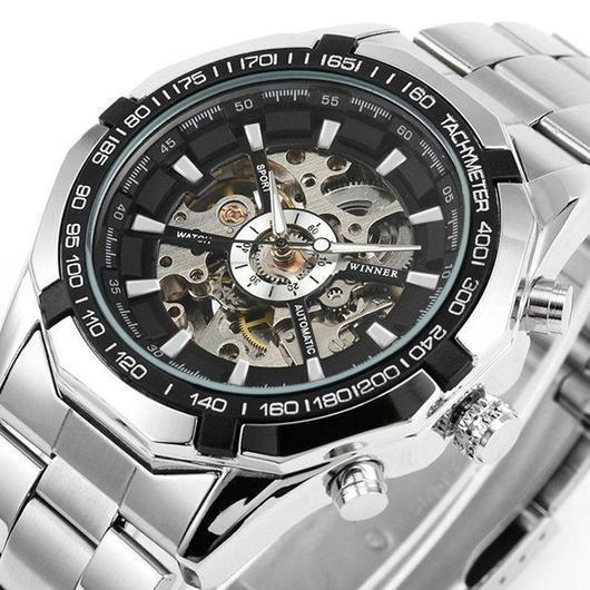 Automatic Skeleton Watch Golden X Dial Business Watches