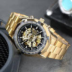 Load image into Gallery viewer, Gute Watch Classy Skeleton X Dial Auto Self Wind Mechanical Movement Gold Bracelet-Watch Outfitters