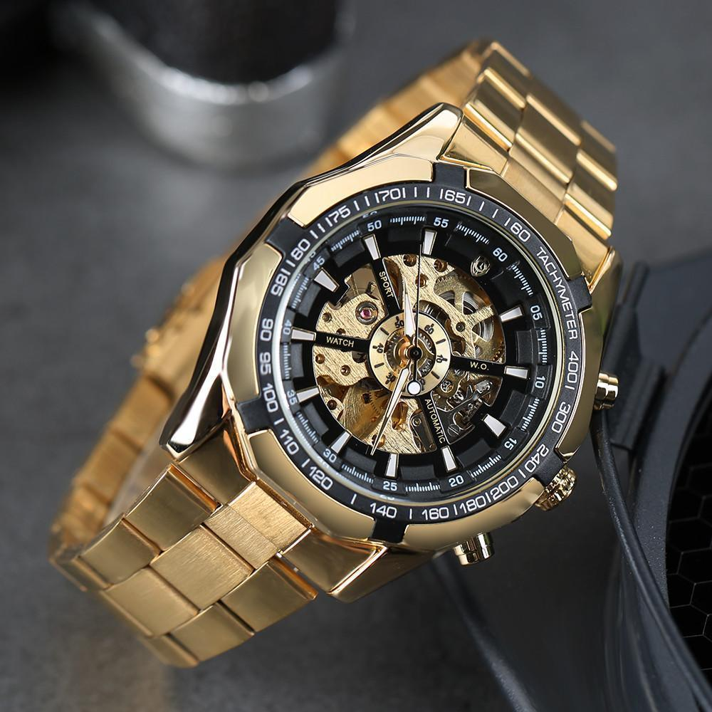 Gute Watch Classy Skeleton X Dial Auto Self Wind Mechanical Movement Gold Bracelet-Watch Outfitters