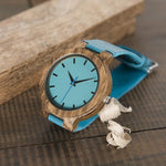 Load image into Gallery viewer, Blue Peacock Handcrafted Wooden Watch-Watch Outfitters