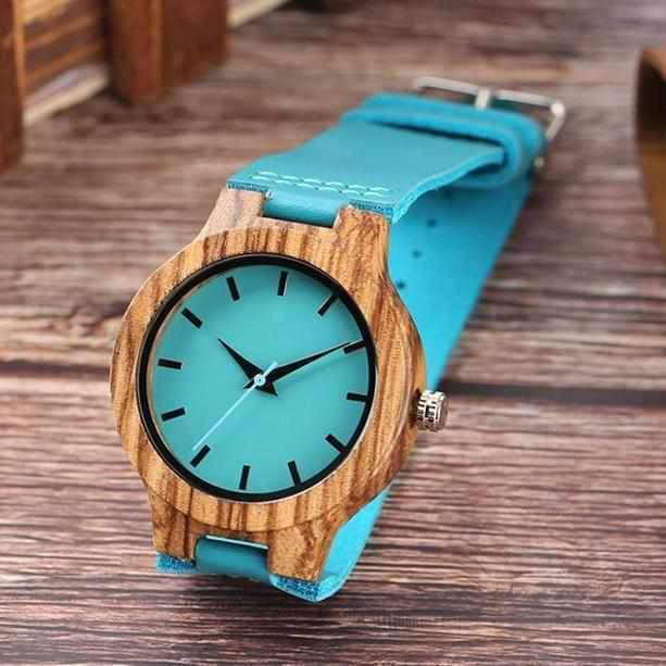 Blue Peacock Handcrafted Wooden Watch-Watch Outfitters