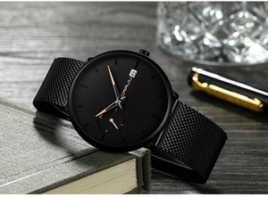 Date Ultra Thin Dial Quartz Men Casual Watch