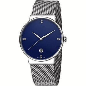 WWOOR Gent Casual Date Quartz Watches Elite Ultra Thin Stainless Steel Mesh Band Waterproof Watch For Men-Watch Outfitters