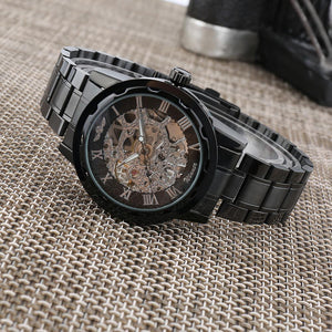 Winner Golden Men Skeleton, mechanical watch with stainless steel strap-Watch Outfitters
