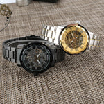 Load image into Gallery viewer, Winner Golden Men Skeleton, mechanical watch with stainless steel strap-Watch Outfitters
