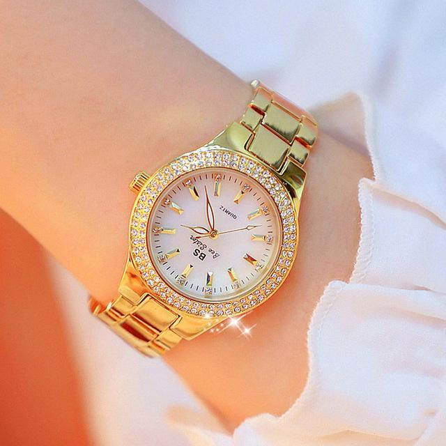 Ladies Gold Watch Crystal Diamond Watches Stainless Steel Silver Watch