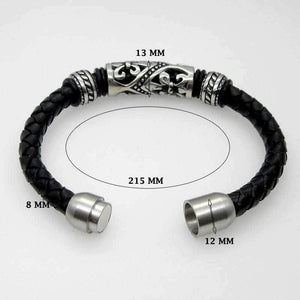 Genuine Leather Bracelet Men Stainless Steel Leather Braid Bracelet With Magnetic Buckle Claps Pulseiras Masculina-Watch Outfitters