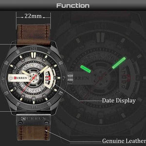 Men Quartz-Analog Watches Military Sport Black Wristwatch Leather Band-Watch Outfitters