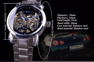Men Skeleton Mechanical Watch Blue Crystal Fashion Design