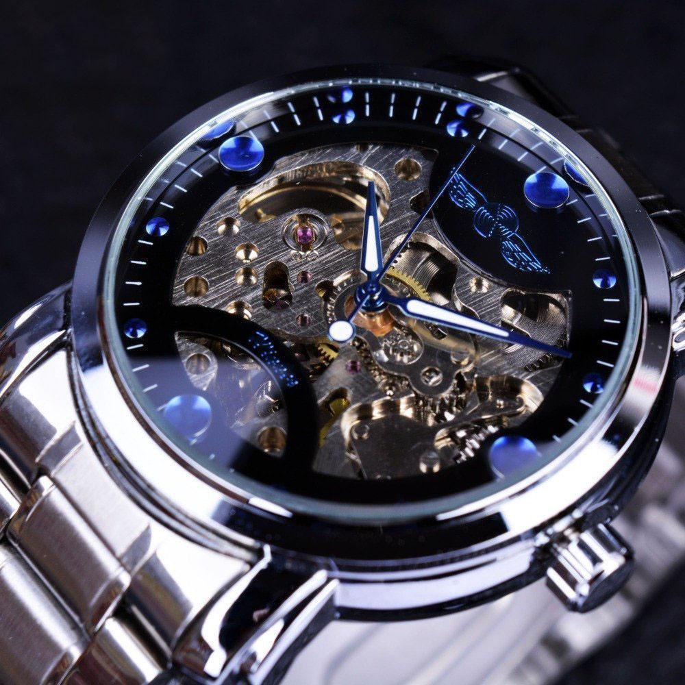 Top Winner Brand Luxury Automatic Watch Blue Ocean Fashion Casual Designer Stainless Steel Men Skeleton Watch Mens Watches-Watch Outfitters