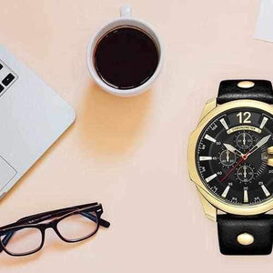 Men Quartz Watch Luxury Big Dial Male Fashion Leather Strap Outdoor Casual Sport Watch with Date Display-Watch Outfitters