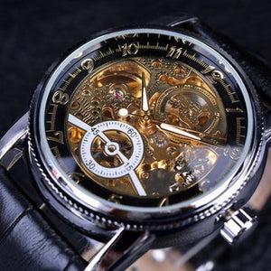 Forsining Hollow Engraving Skeleton Casual Designer Black Golden Case Gear Bezel Automatic Watches Men-Watch Outfitters