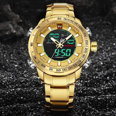 Mens Waterproof LED Digital Analog Quartz Steel Sport Military Army Wrist Watch Gold-Watch Outfitters