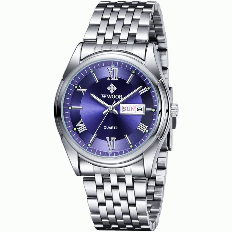Mens Watch, Luxury Stainless Steel Band Quartz Analog Watches, Waterproof Unique Dress Classic Work Business Casual Wrist Watch with Roman Numeral, Calendar Date Window-Watch Outfitters