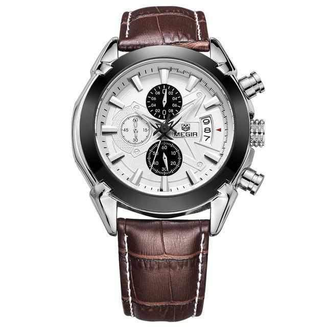 Megir Mens Sport Leather Watch Military Chronograph Analog Quartz Multifunction Wrist Watch-Watch Outfitters