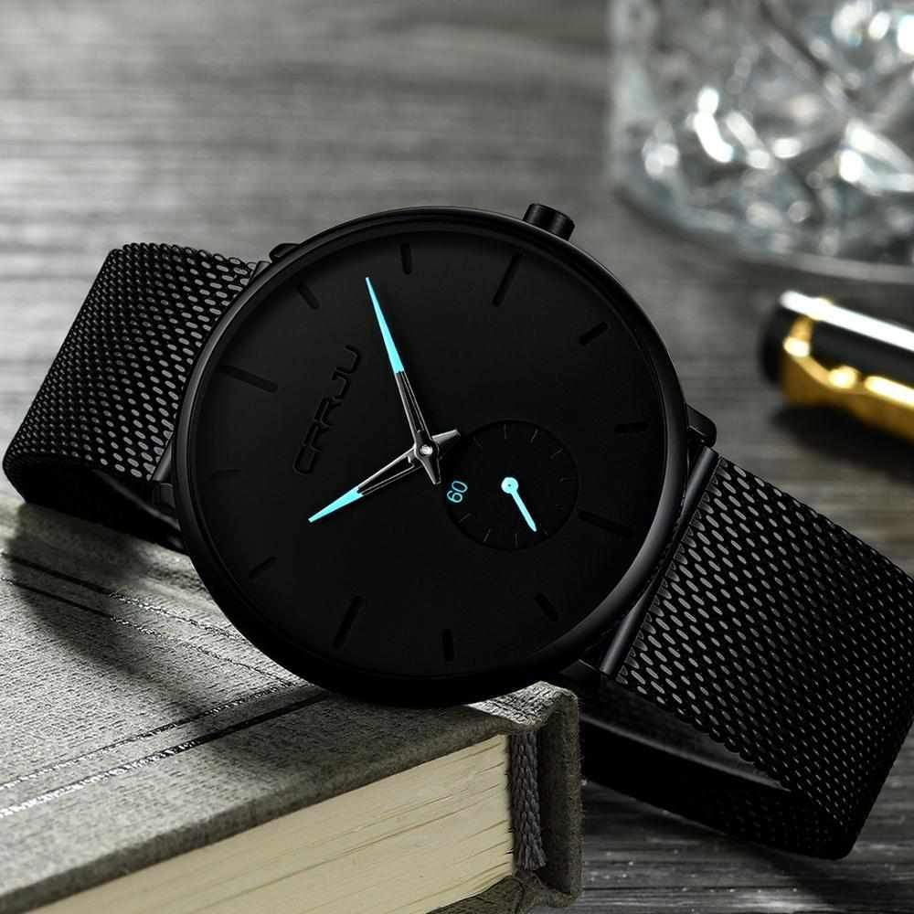 Mens Watches Minimalist Quartz Analogue Waterproof Black Ultra-Thin Wristwatch Mesh Strap with Calendar-Watch Outfitters