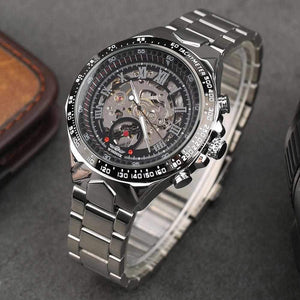 Gute Casual Men Silver Steel Skeleton Automatic Mechanical Coated Glass Wristwatch-Watch Outfitters