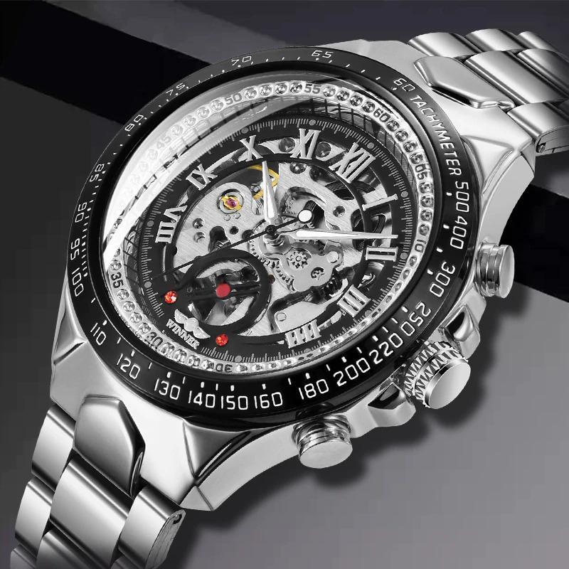 Men Casual Silver Steel Skeleton Watch