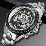 Load image into Gallery viewer, Men Casual Silver Steel Skeleton Watch