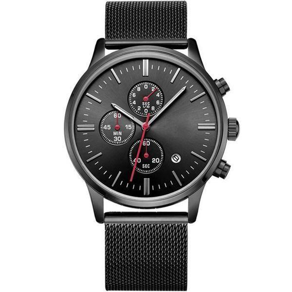 Fashion Luxury Brand MEGIR Watches Men Stainless Steel Mesh Band Quartz Sport Watch Chronograph Men's Wrist Watches Clock Men-Watch Outfitters