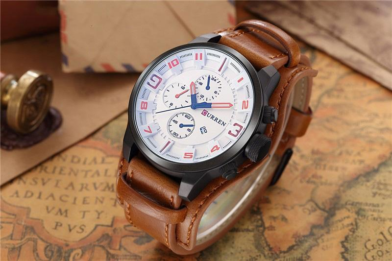 Men's Top Luxury Army Military Leather Steampunk Sports Quartz Watch