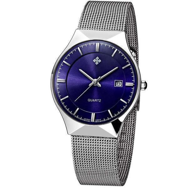 WWOOR Men's Analog Quartz Watch Ultra Thin Dial Date Stainless Steel Mesh Belt Waterproof-Watch Outfitters